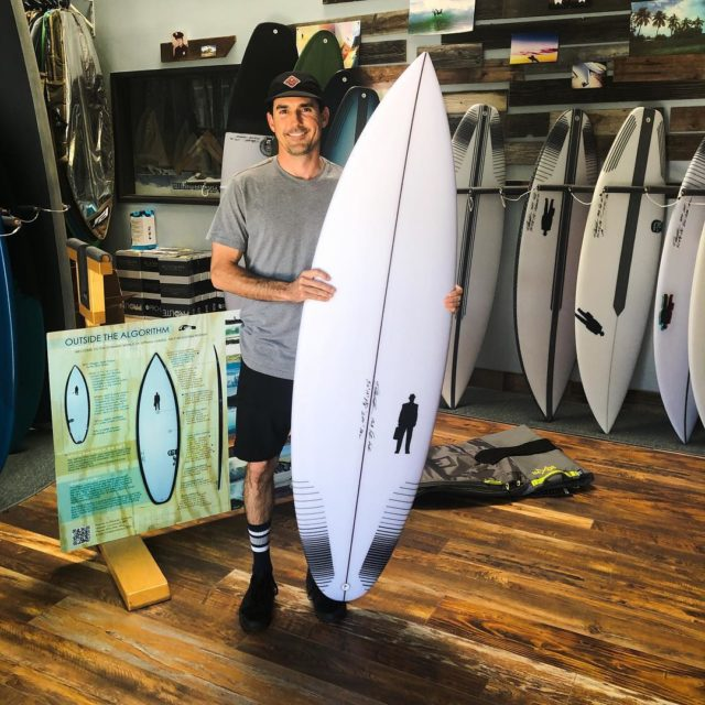 "Nick from Ventura with his new custom 5'10"" x 19"" x 2 3/8"" 28L #G471surfboard in poly construction. An excellent shortboard for every kind of condition Cali dishes up. Nick is 20-something, 5'9"", 160."